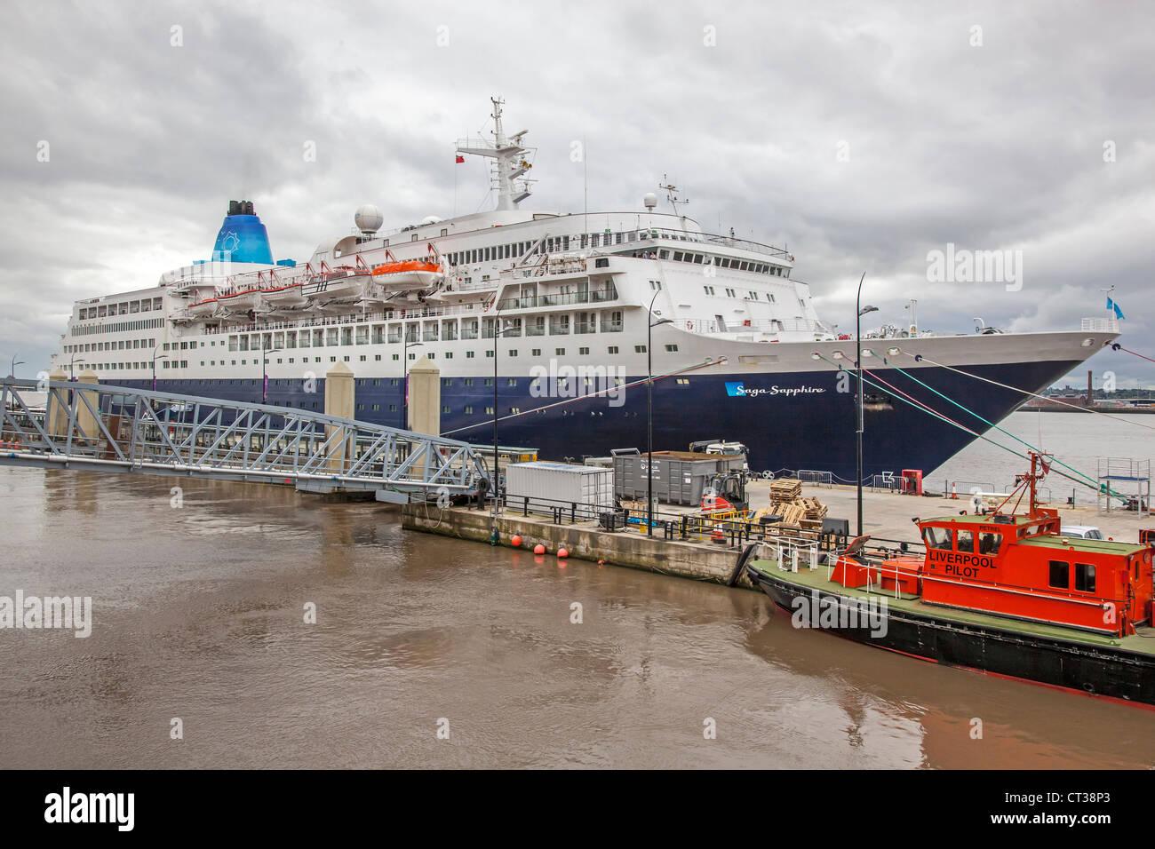 Cruise ship liner Saga Sapphire at Liverpool pierhead cruise terminal. - Stock Image