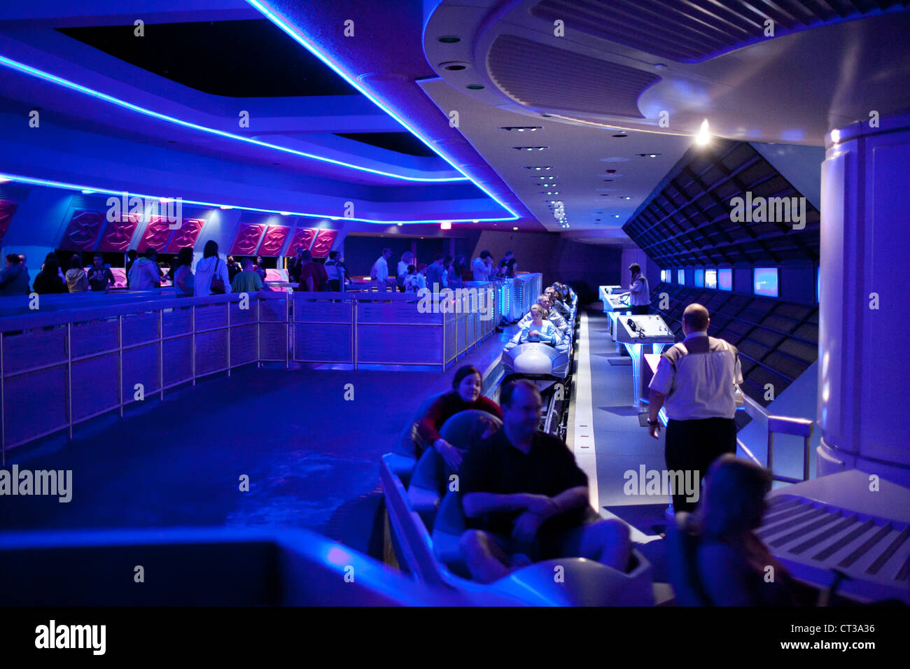 People about to take a ride in Space Mountain in Magic Kingdom, Disney World, Orlando, Florida Stock Photo