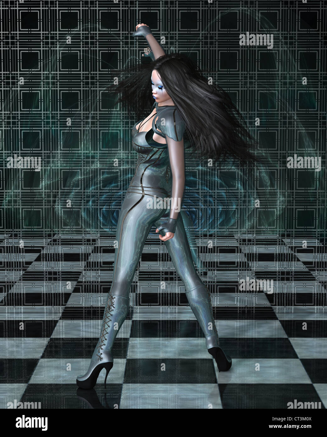 Catsuit Woman Reflections - Stock Image