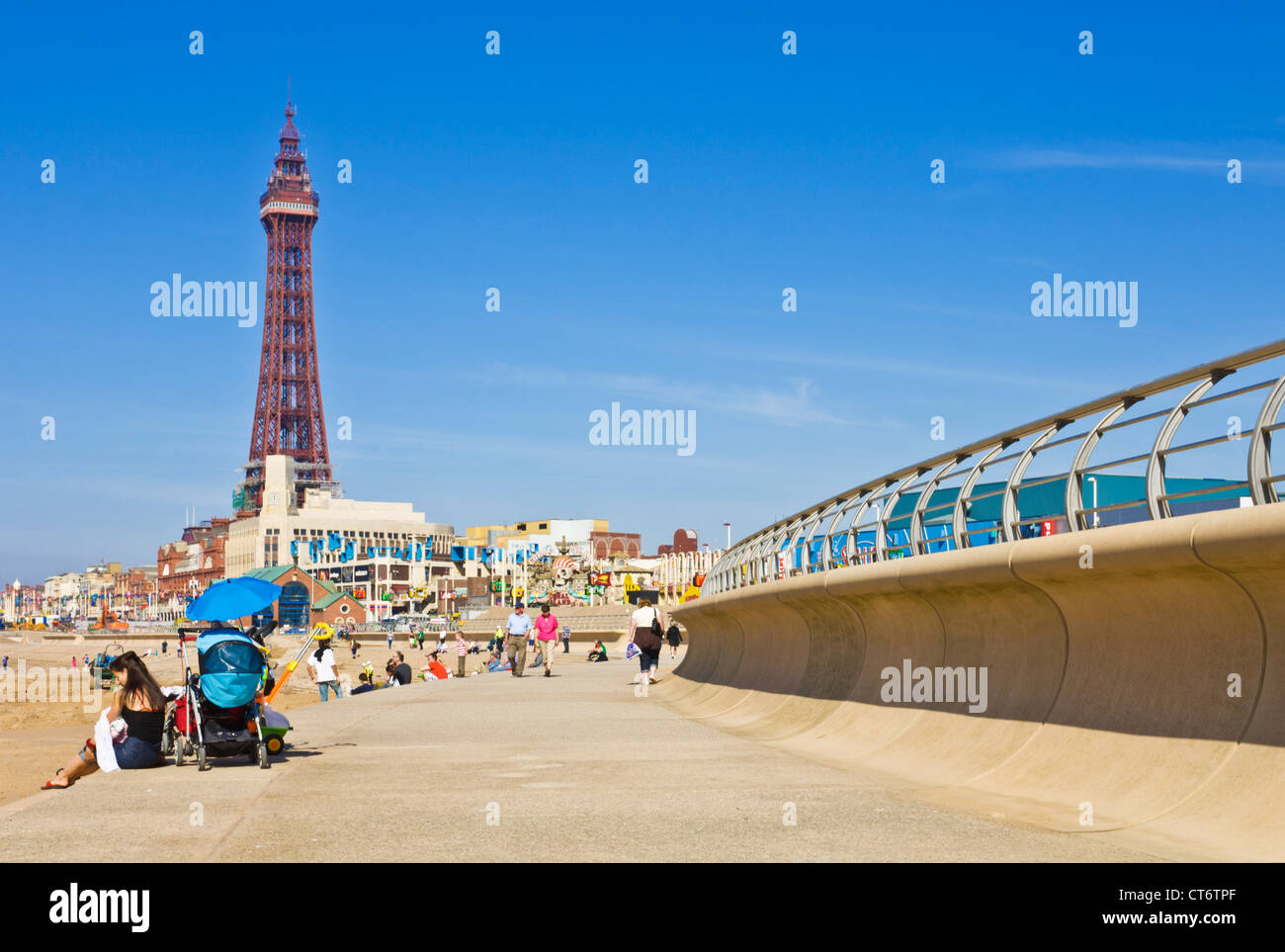 Blackpool tower beach and new seafront promenade Blackpool Lancashire England GB UK Europe Stock Photo