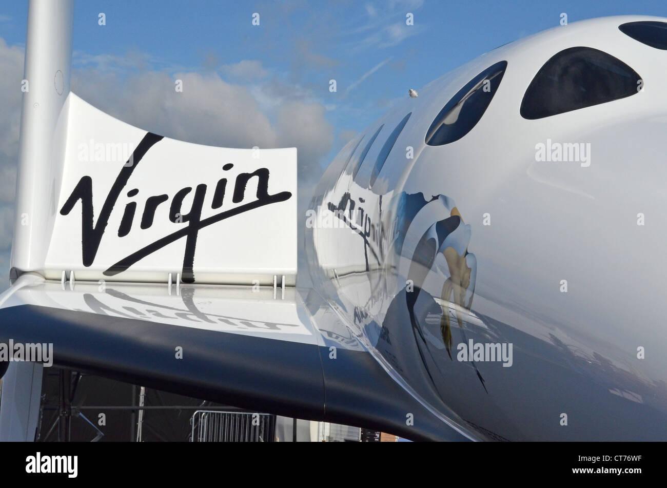 Virgin Galactic's SpaceShipTwo spaceplane at the Farnborough Air Show 2012 - Stock Image