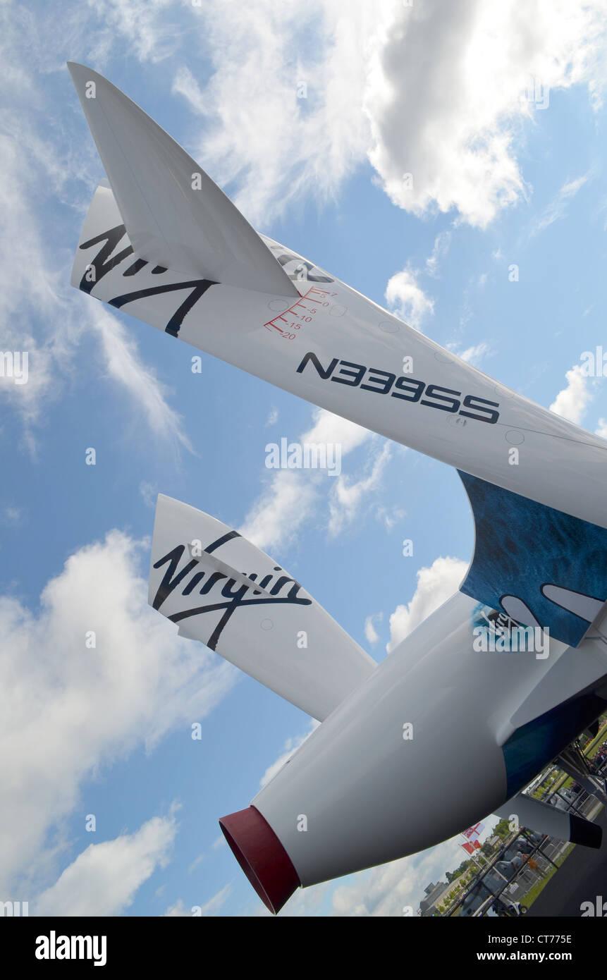 Replica of Virgin Galactic's SpaceShIpTwo at the Farnborough Air Show 2012 - Stock Image