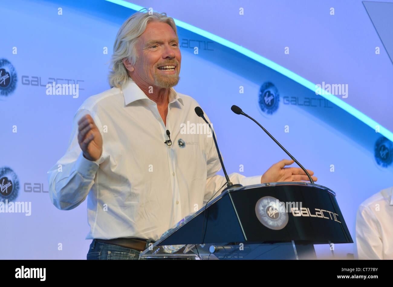 Sir Richard Branson, Founder of Virgin Galactic, at the Farnborough Airshow 2012. - Stock Image