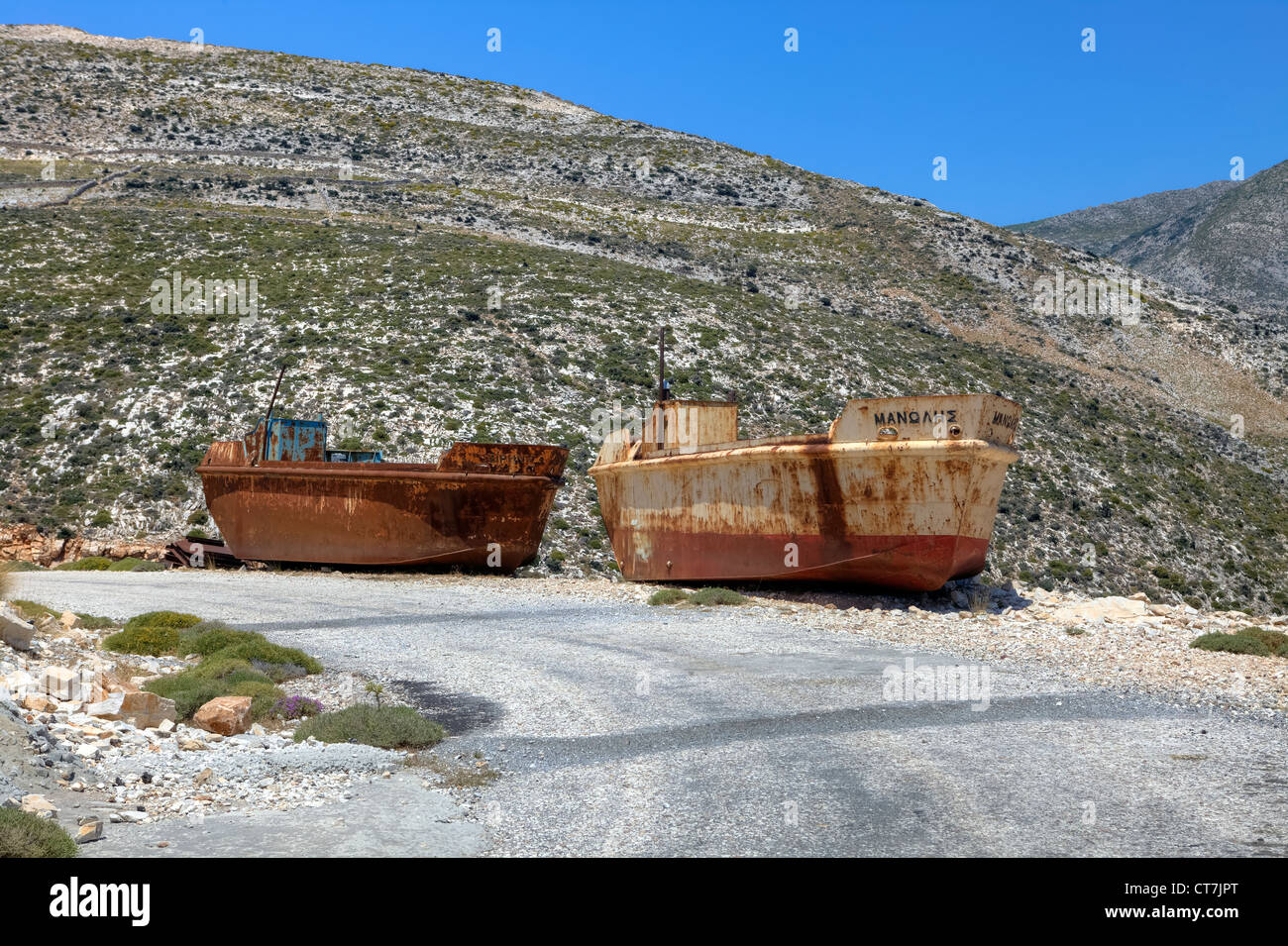 former cargo ships for the emery extraction at Moutsouna, Naxos, Greece - Stock Image