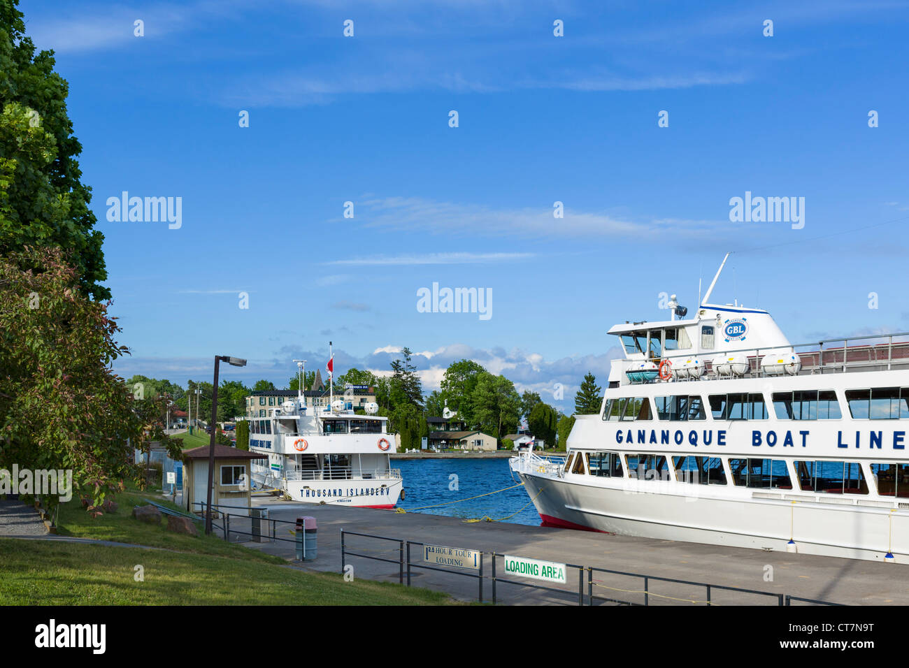 Tour boats for the Thousand Islands at the harbour in Gananoque, Lake Ontario, Ontario, Canada - Stock Image
