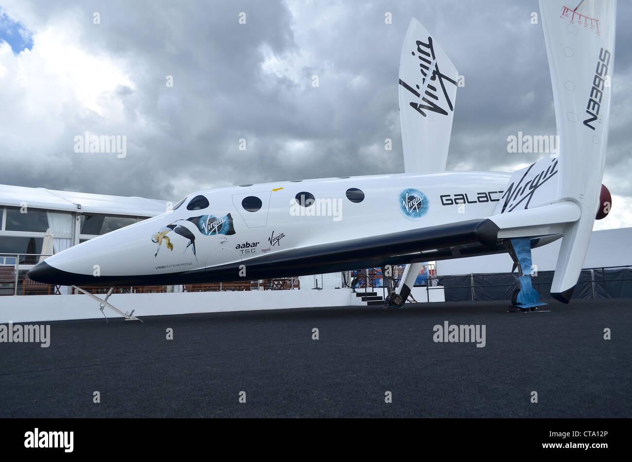 Virgin Galactic Spaceship Two replica on display at Farnborough International Airshow 2012 - Stock Image