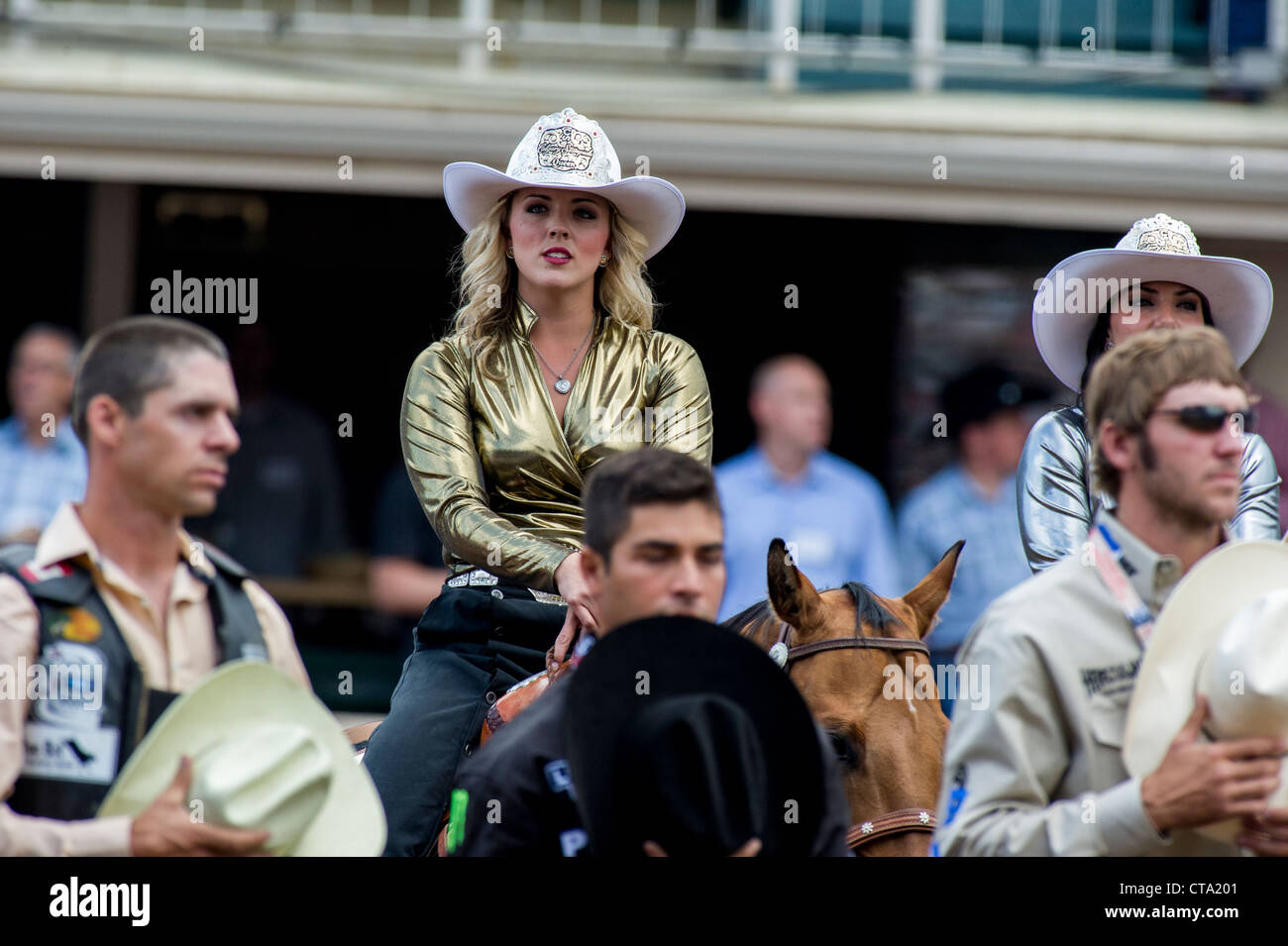 Rodeo Queen at the Calgary Stampede Rodeo opening ceremonies Stock Photo