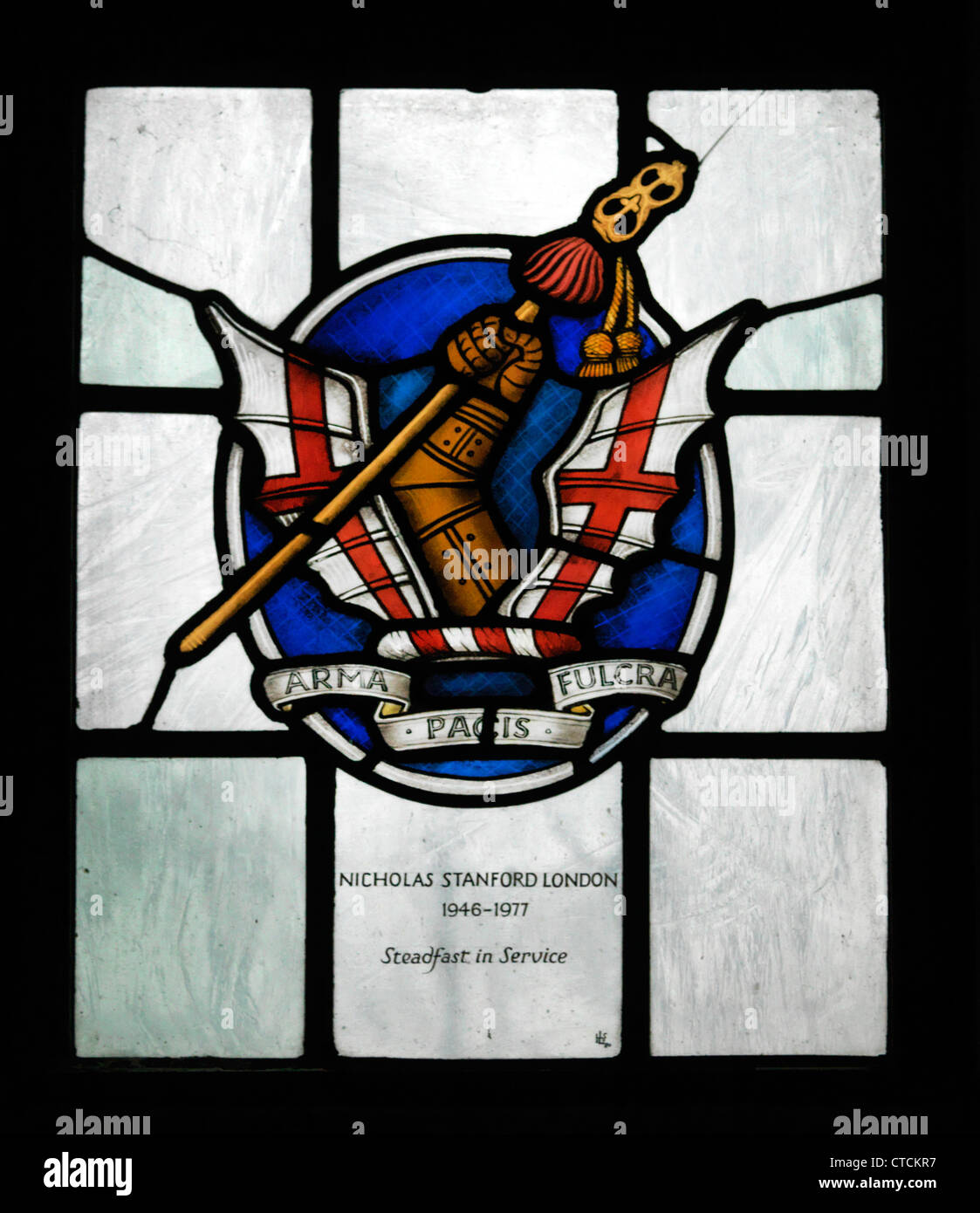 Guildford Surrey England The Cathedral Church Of The Holy Spirit Stained Glass Window Honourable Artillery Company - Stock Image