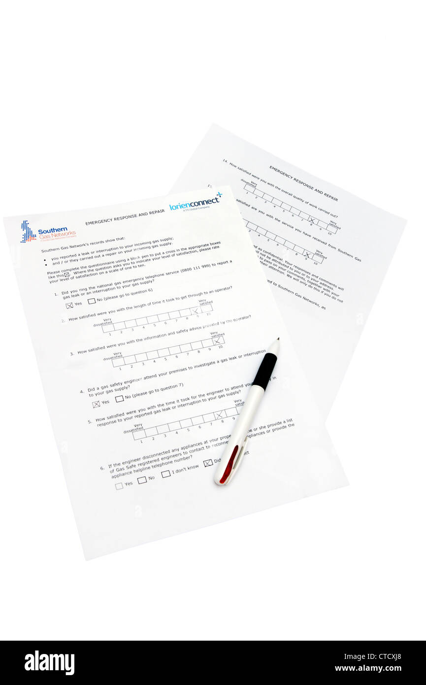 Southern Gas Networks questionnaire for a service provided on incoming gas supply work / gas leak - Stock Image