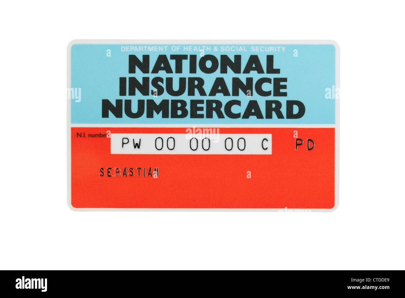 National Insurance Number card Stock Photo