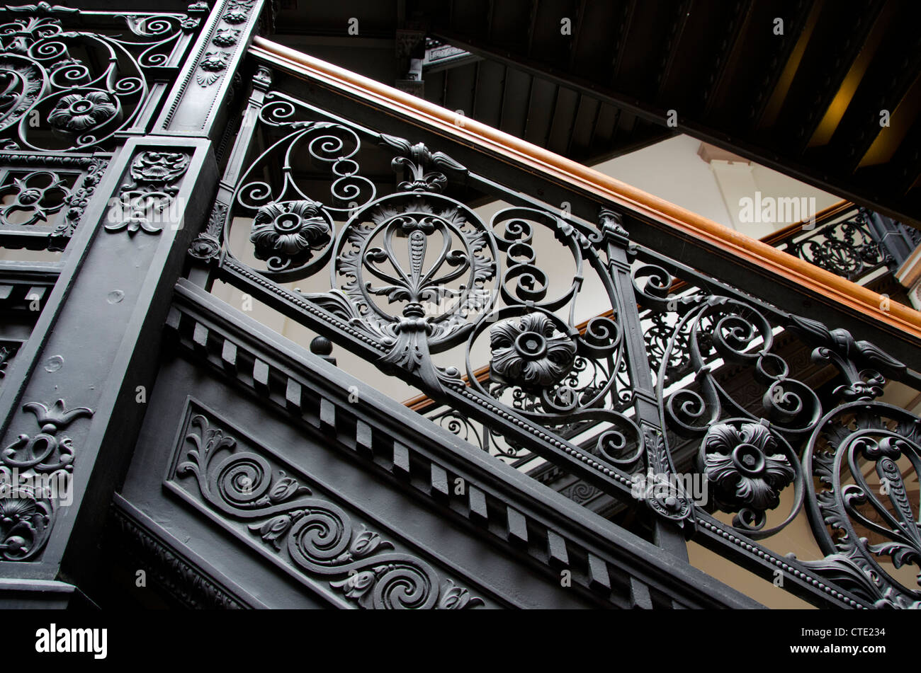New York, Troy. The Historic Frear Building. Vintage Staircase With Ornate  Wrought Iron Railing.