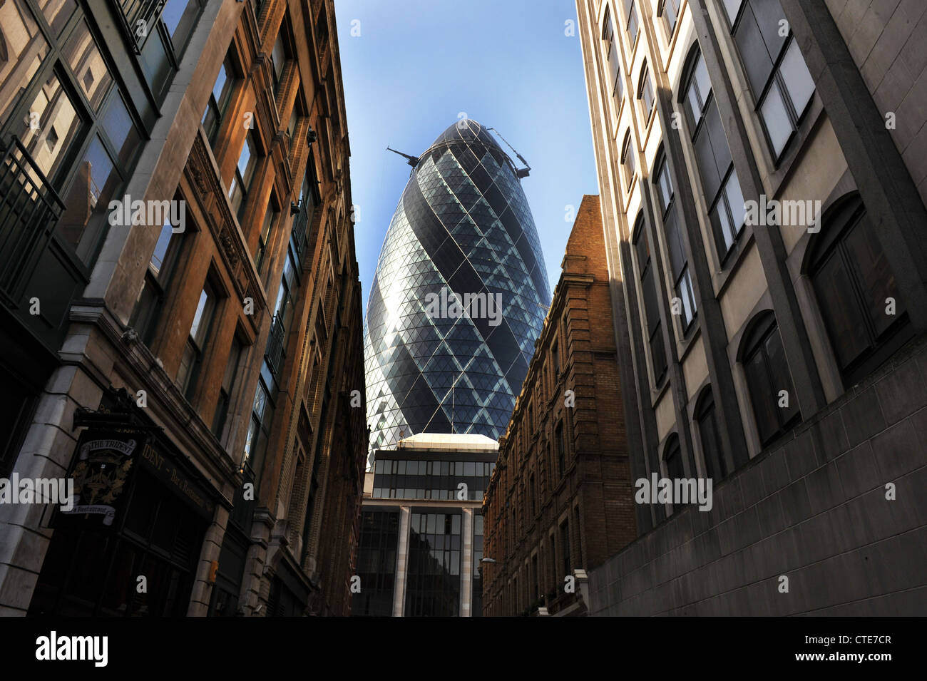The Gherkin Building, City of London in the Financial District of London UK - Stock Image