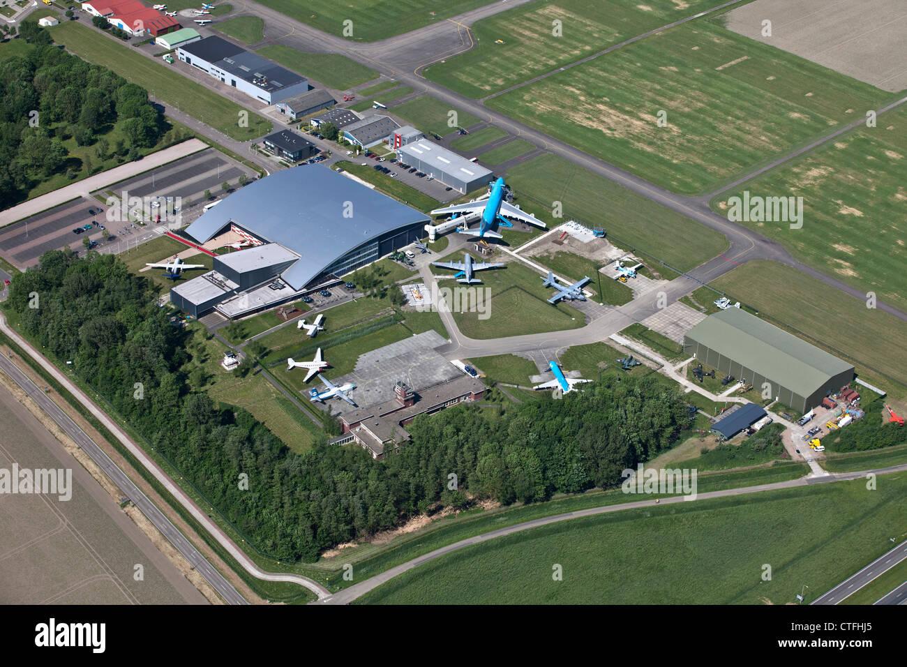 The Netherlands, Lelystad, Airplane museum called Aviodrome. Aerial. - Stock Image