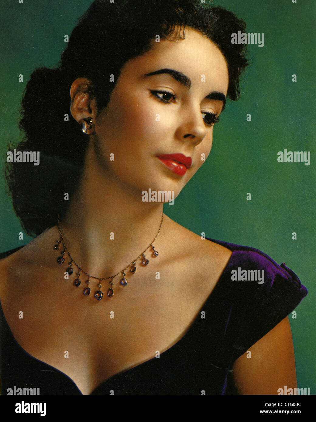ELIZABETH TAYLOR (1932-2011)  US film actress about  1950 Stock Photo