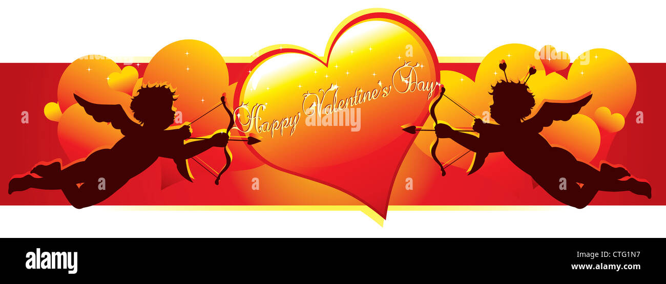 Cupid silhouettes with hearts for valentines day - Stock Image