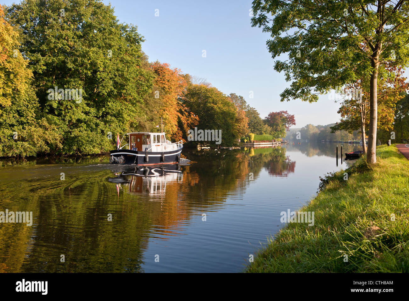 The Netherlands, Breukelen, Pleasure boat on the river Vecht. - Stock Image