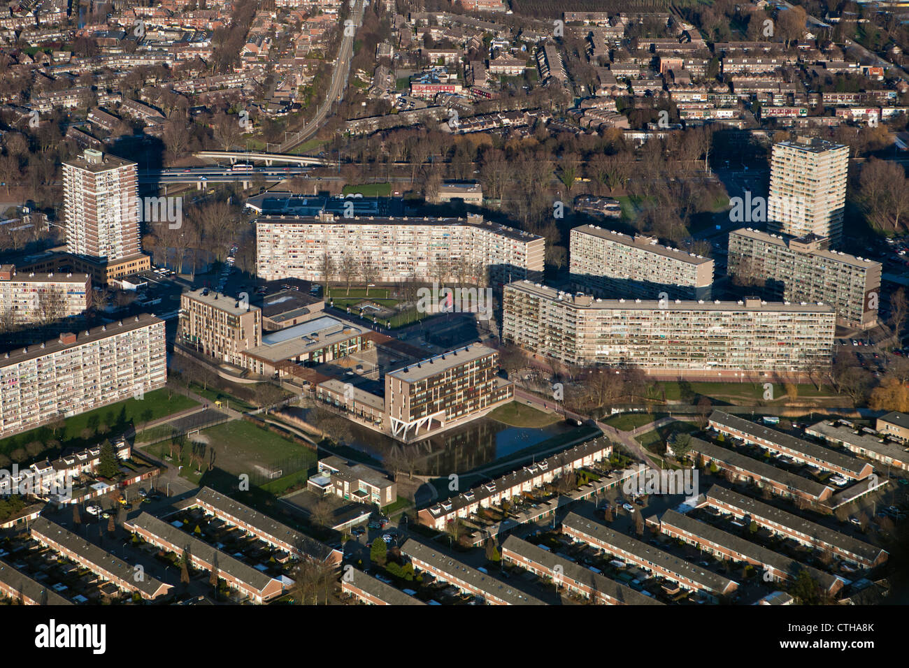 The Netherlands, Zoetermeer, City. Aerial. Apartment buildings. - Stock Image