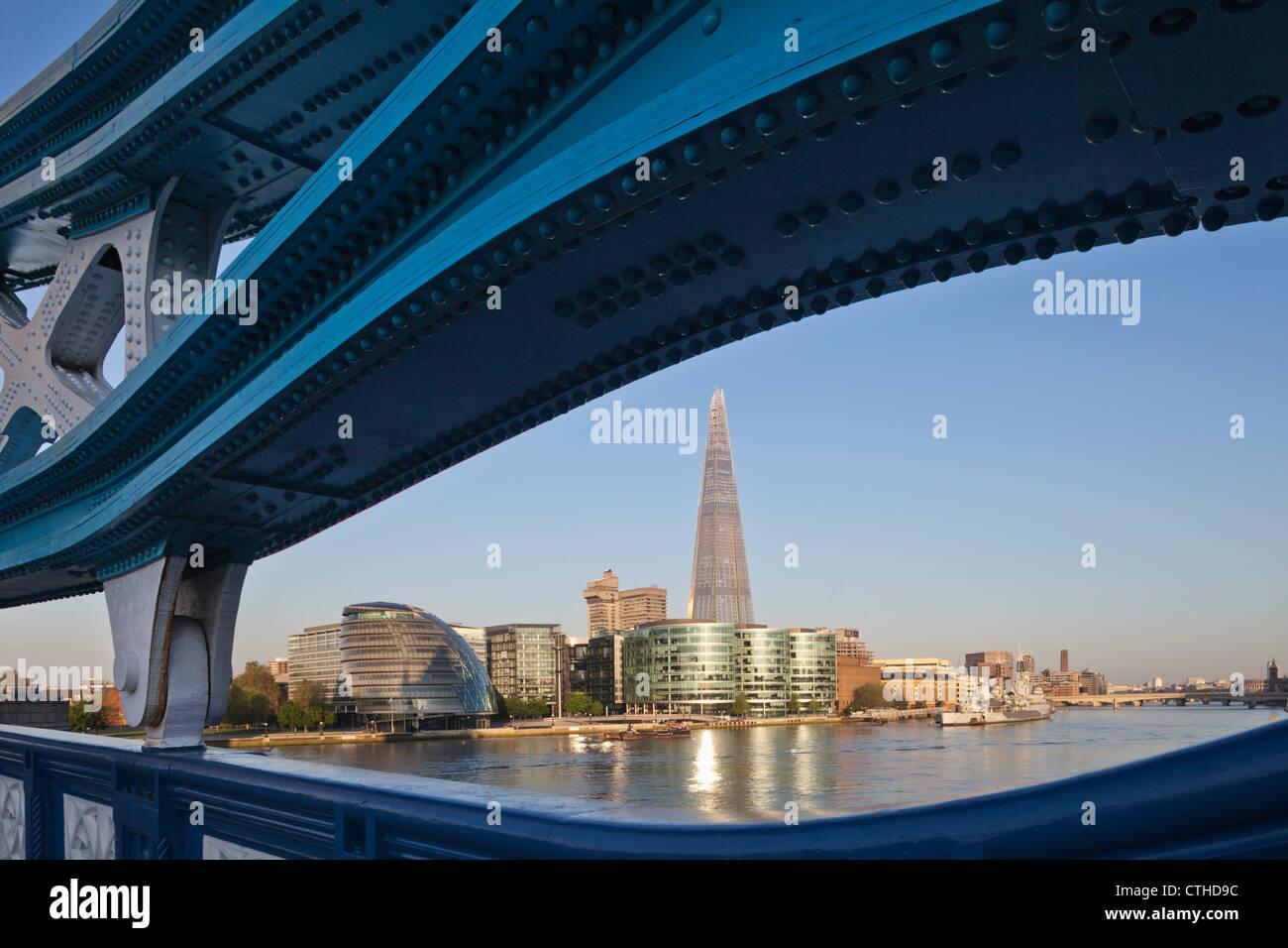 England, London, Southwark, Tower Bridge and The Shard Stock Photo