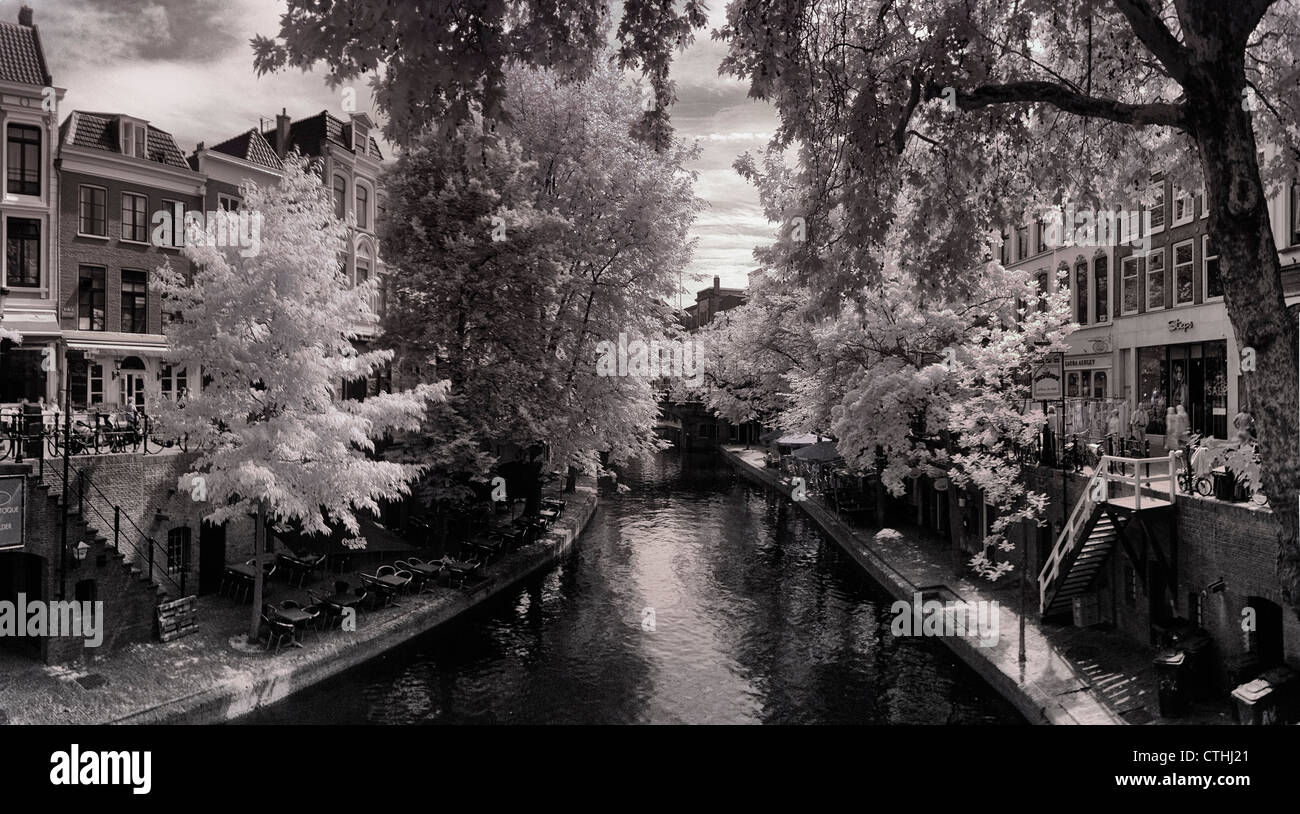 Infrared panorama in black and white of the canals in utrecht holland europe