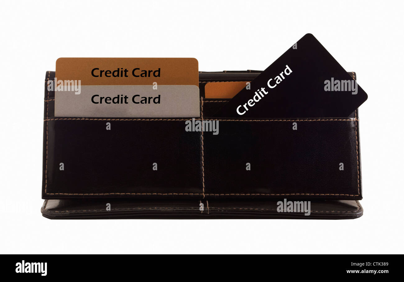 Credit Cards in the black wallet. - Stock Image