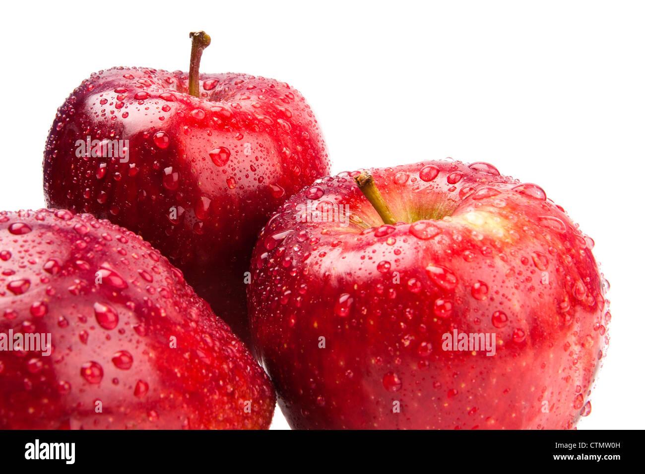 big fresh three apple isolate on white - Stock Image