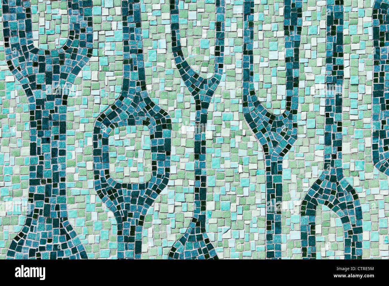 Mosaic on Miami River Walk, Downtown Miami, Florida, USA - Stock Image