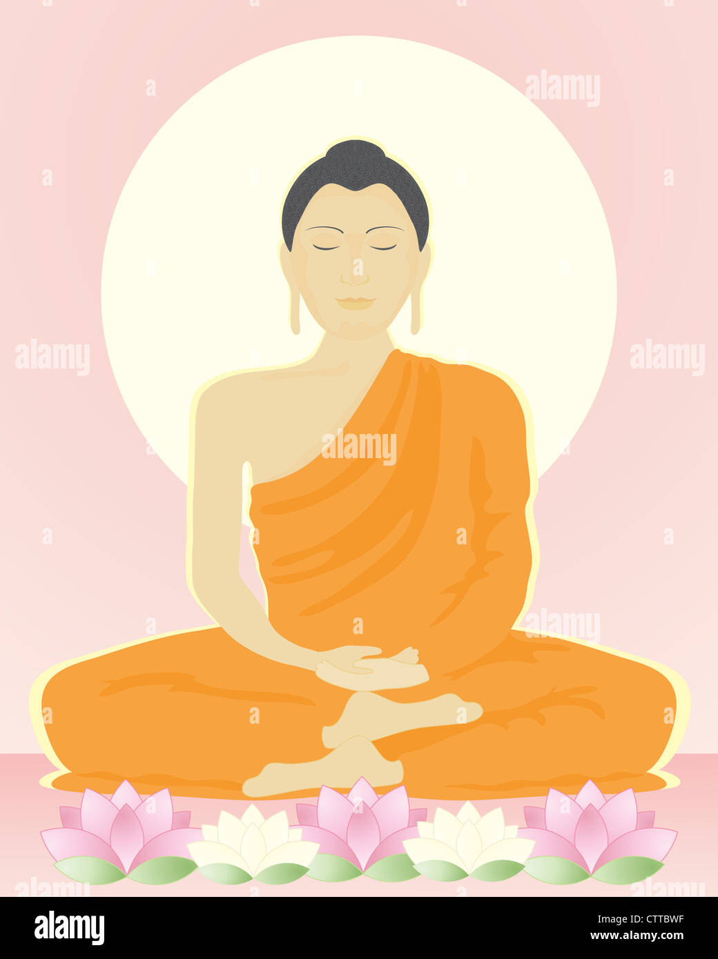 an illustration of an image of the buddha in meditation sitting with lotus flowers under a bright yellow sun in Stock Photo