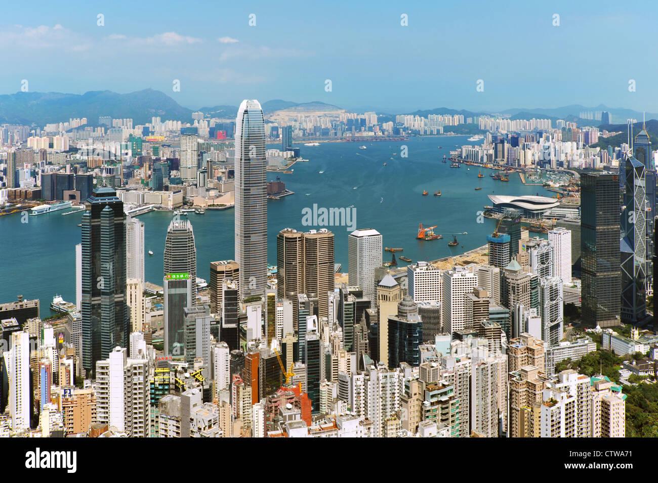 Hong Kong Harbor in daylight Stock Photo