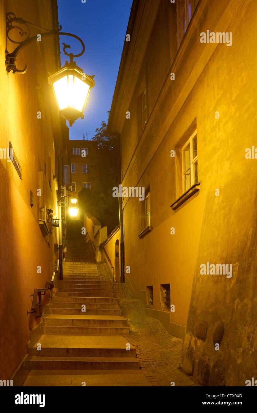 Warsaw Old Town, Kamienne Schodki Street, Poland, Unesco - Stock Image