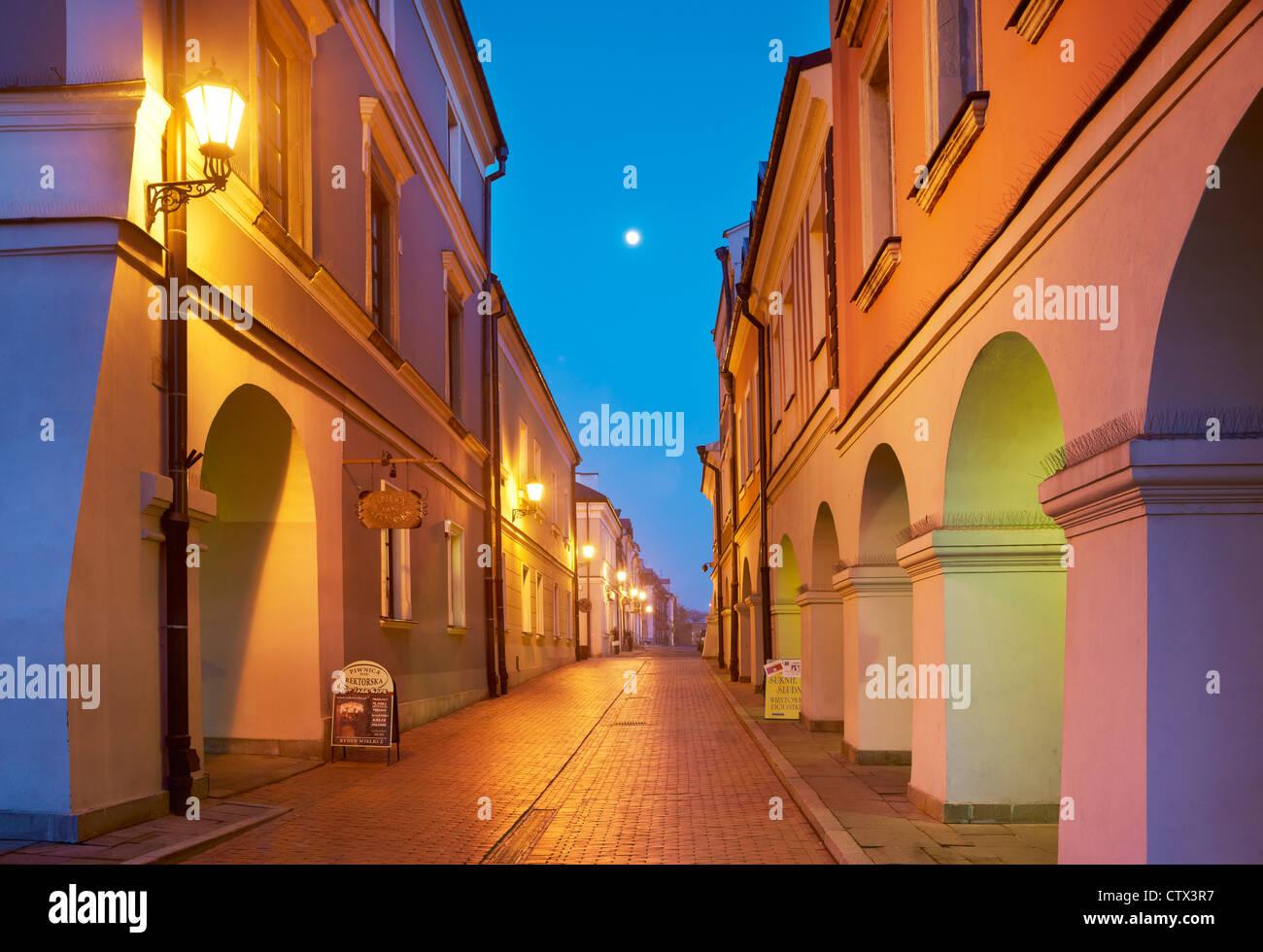 Zamosc, historic houses on the Old Market, Unesco, Poland, Europe - Stock Image