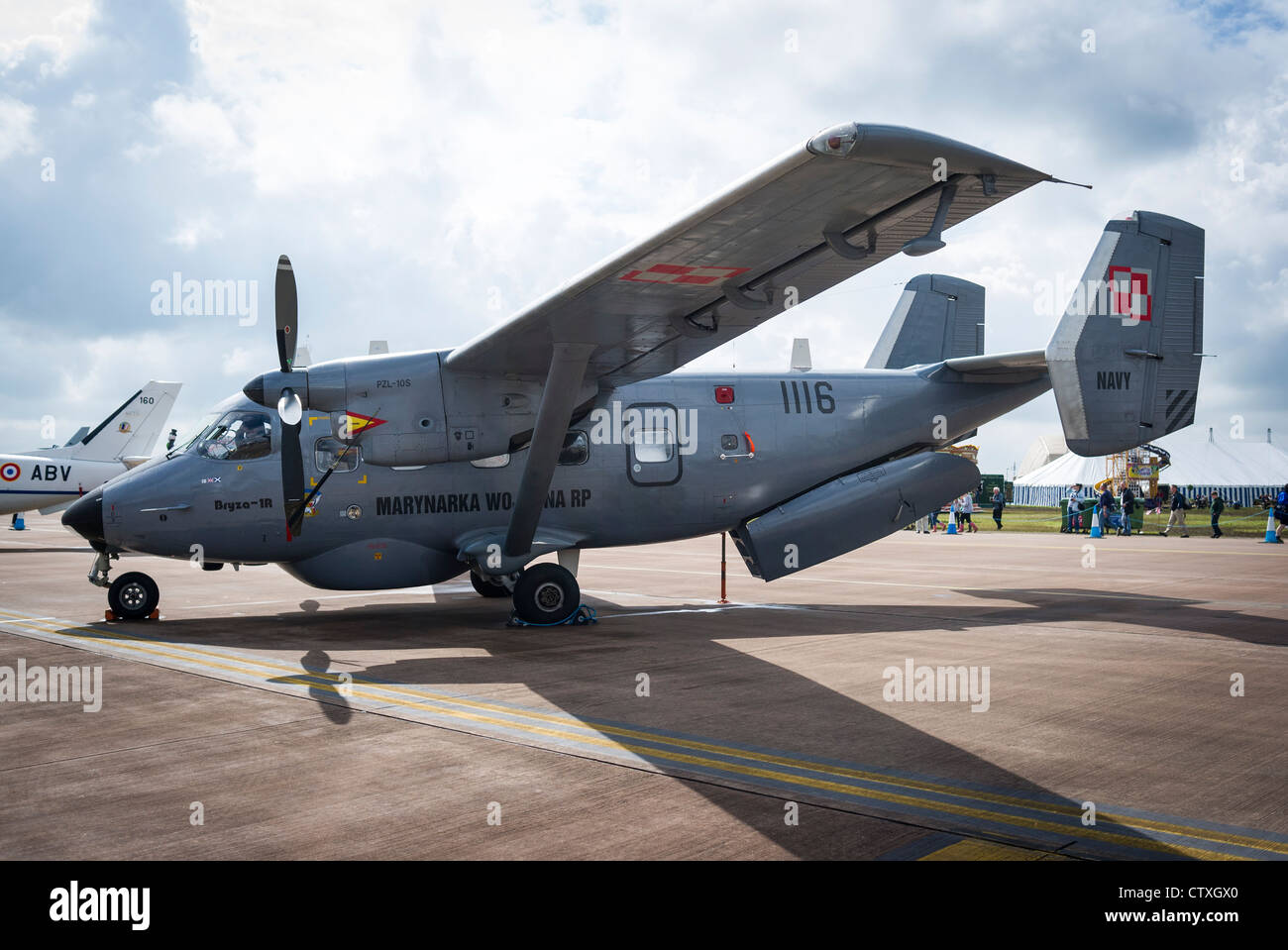 Antonov An-28 aircraft on static display at RAF Fairford side view - Stock Image