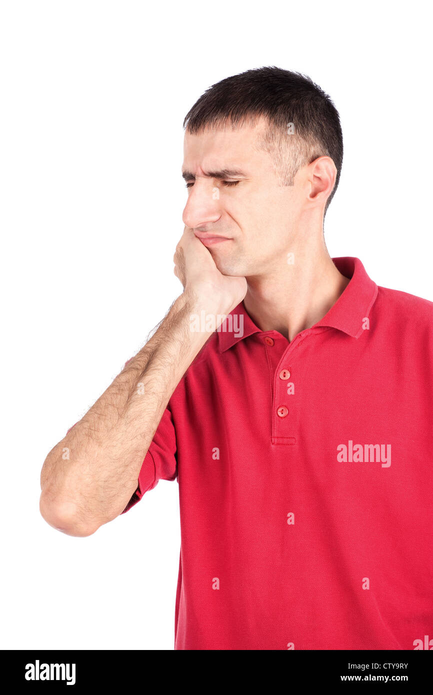 man in painful expression because of toothache, isolate on white background - Stock Image