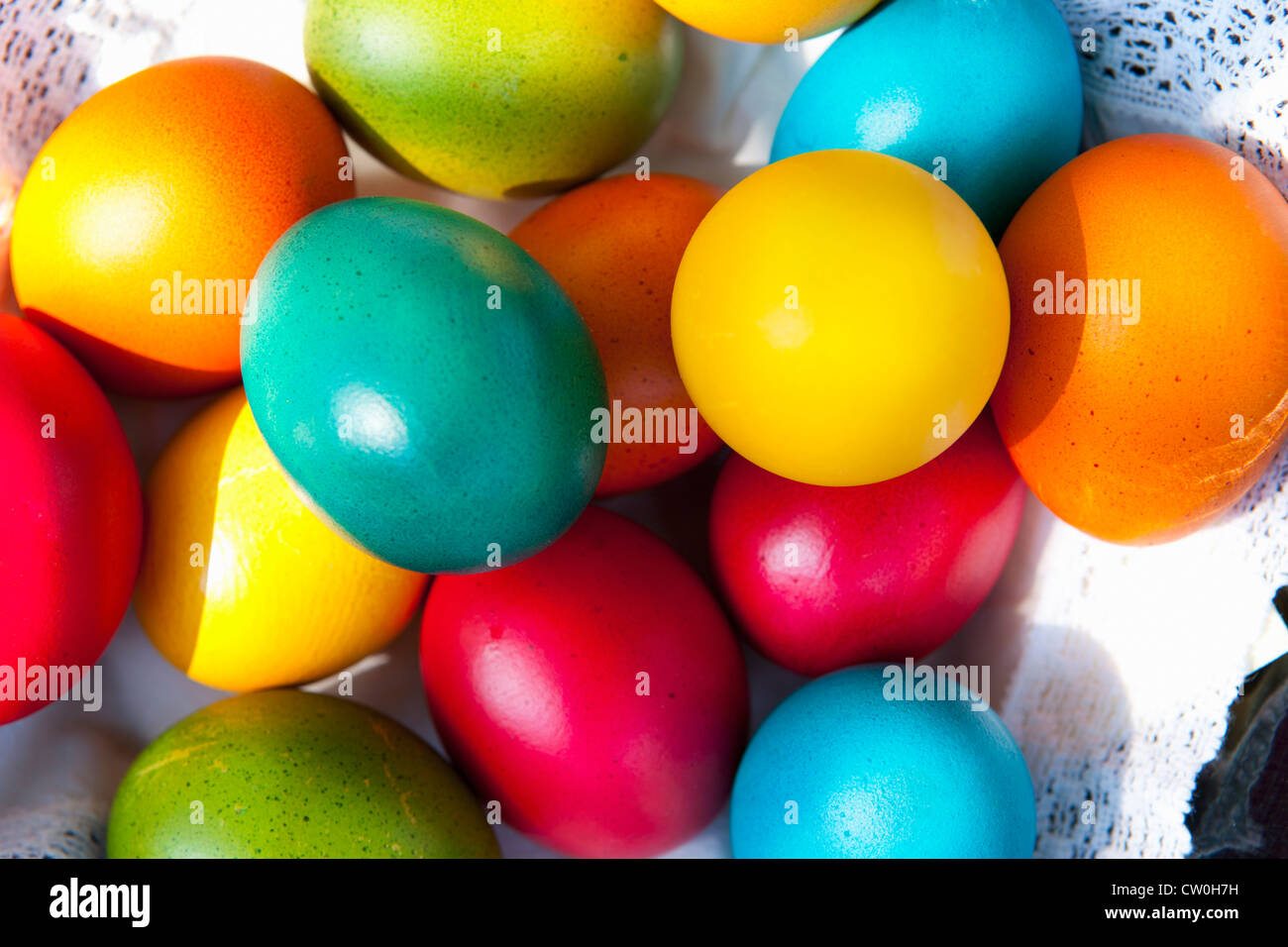 Close up of colorful Easter eggs - Stock Image