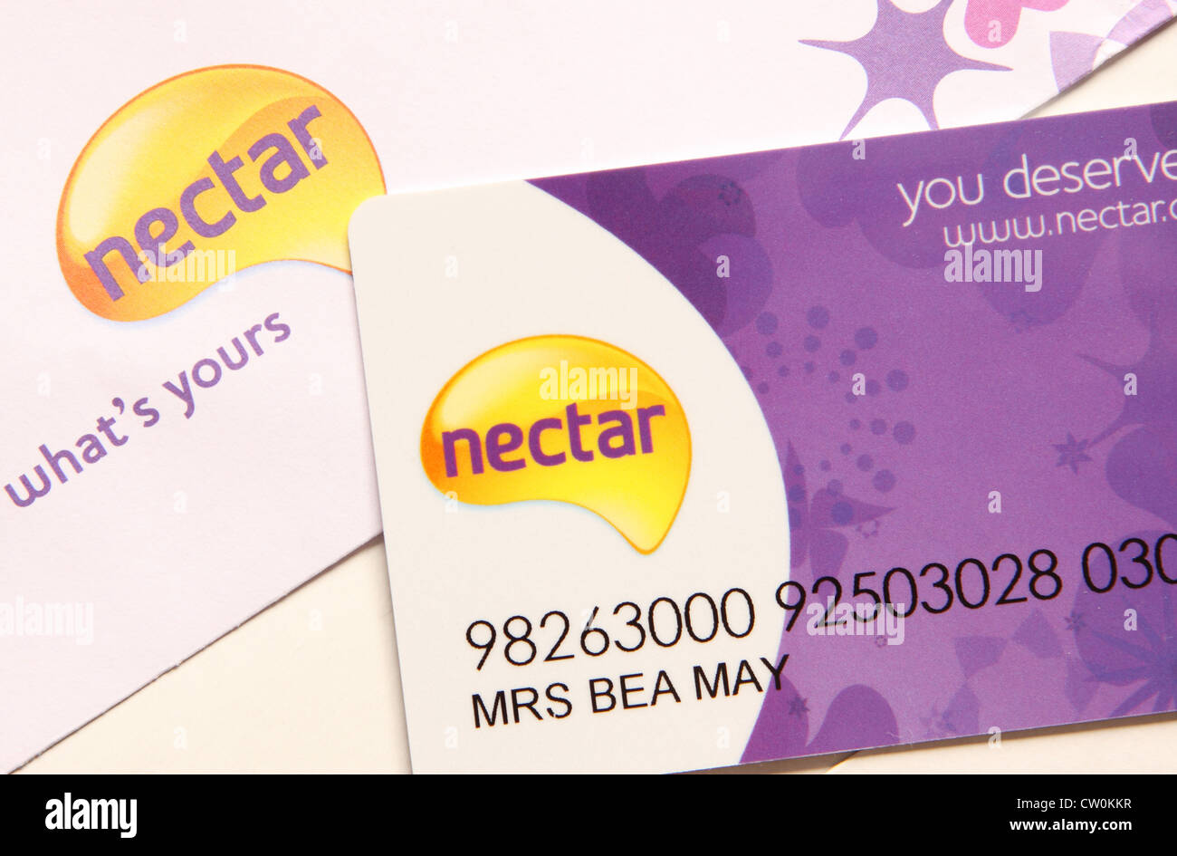 Nectar reward points card Stock Photo