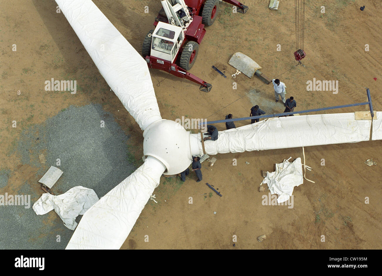 INDIA Tamil Nadu Kannyakumari Cape Comorin , construction site of Vestas RBB rotor blades for wind turbines Stock Photo