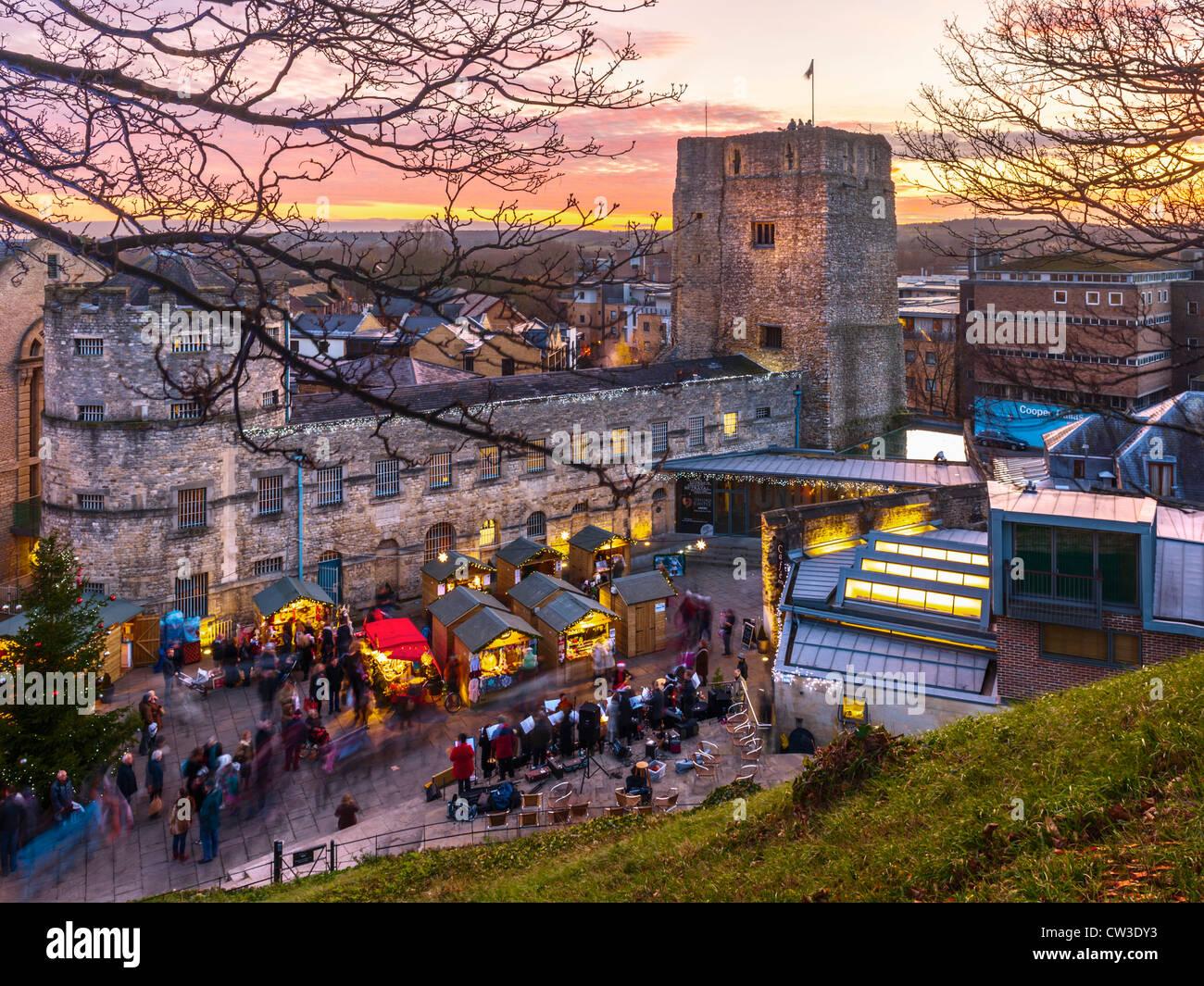 Christmas Market, Oxford Castle Stock Photo