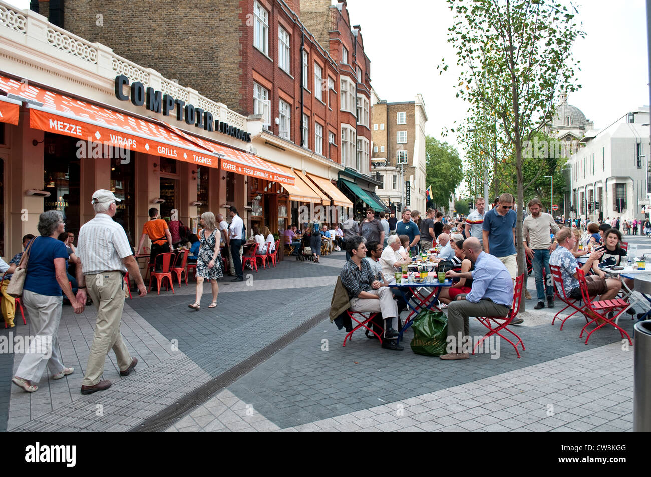 Pedestrianised Part Of Exhibition Road With Outdoor Cafes And Stock