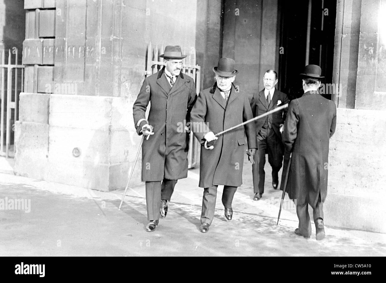 Paris, Mr. Lloyd George, English Minister of Finance and Mr. Bark, Russian Minister of Finance - Stock Image
