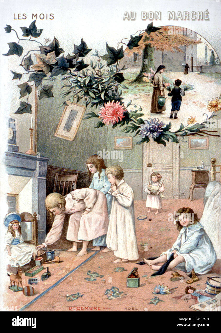 Advertising chromolithograph published by the French department store 'Le Bon marché' - Stock Image