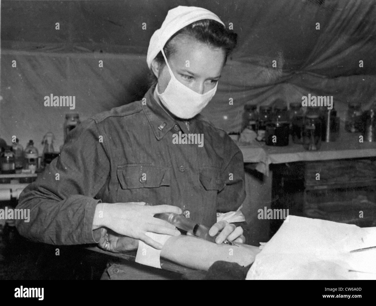 Battlefront nurse somewhere in Normandy (Summer 1944) - Stock Image