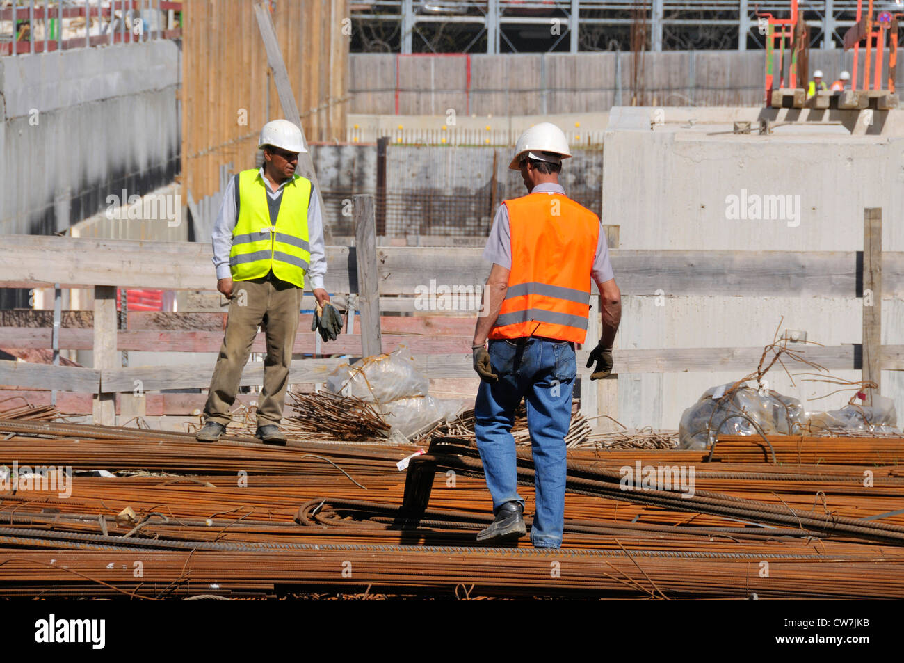 two workers at the construction site of the surgical clinic of the university hospital, Germany, Baden-Wuerttemberg, - Stock Image