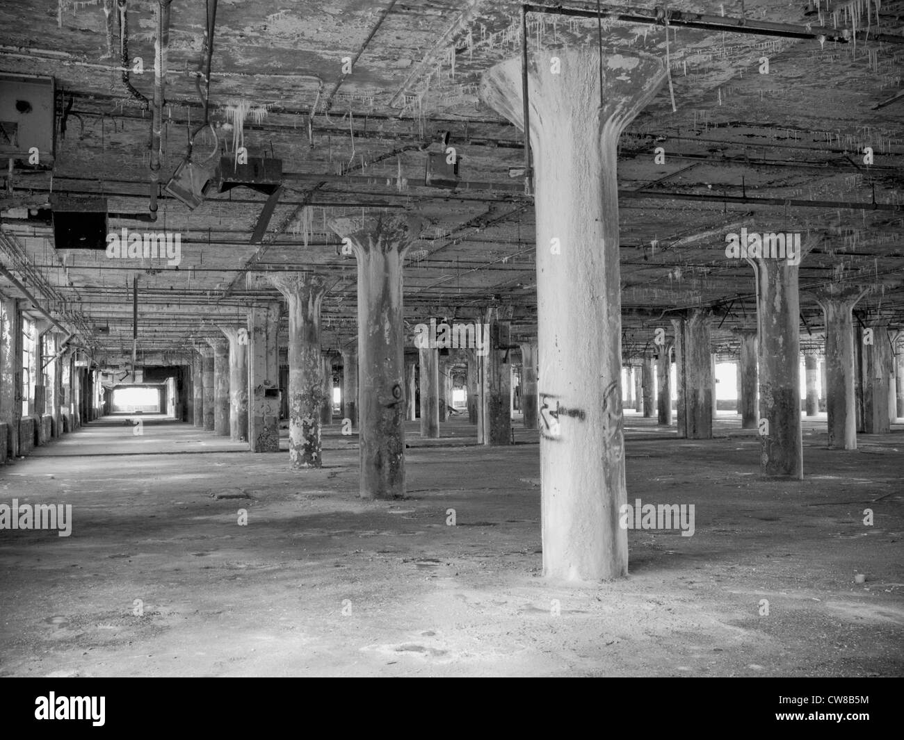 Interior of an abandoned car factory in Detroit Michigan. The ... for Abandoned Car Factory  589ifm