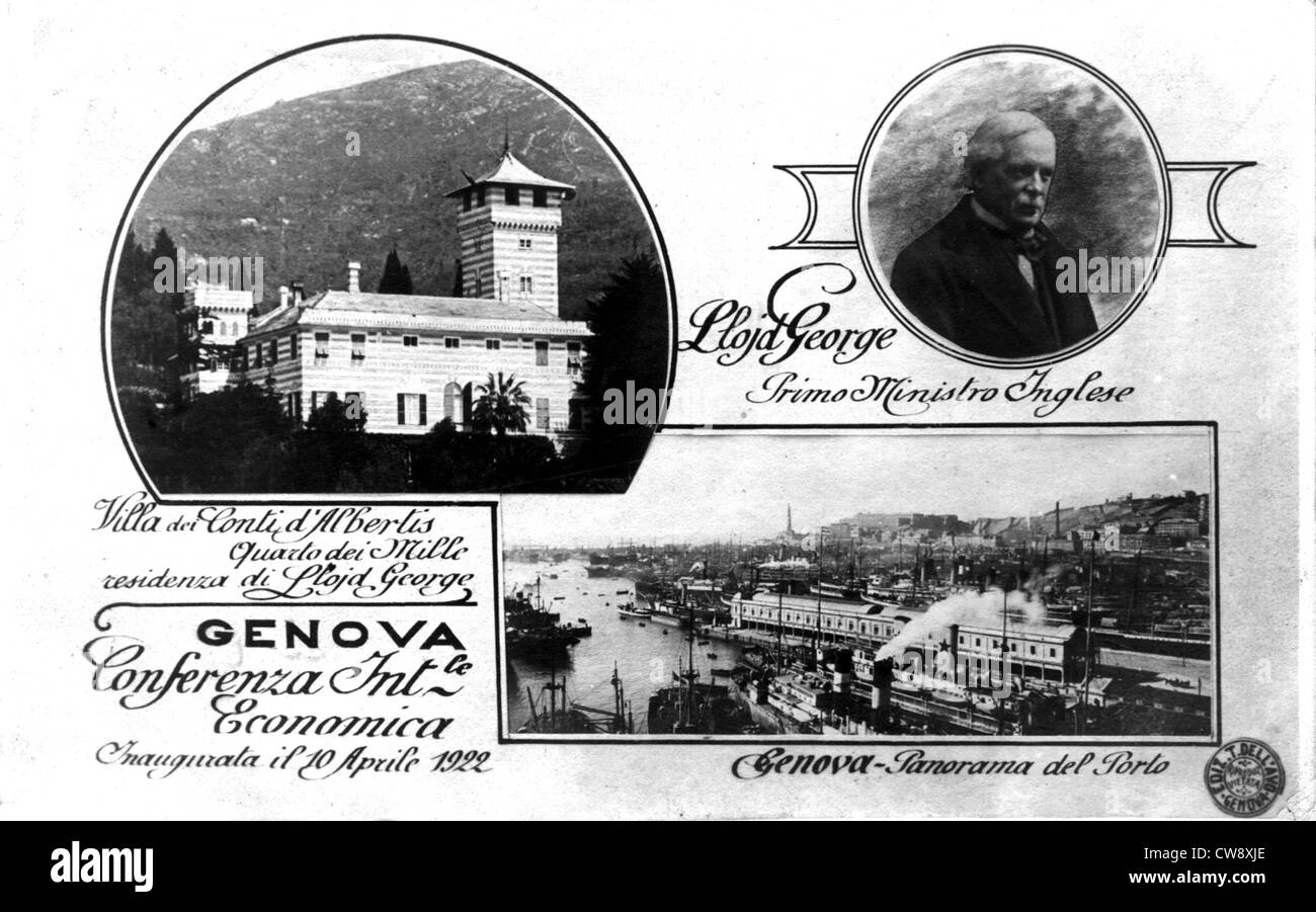 S.D.N. (Society Nations) - Genoa Conference - Lloyd George British Prime Minister - Stock Image