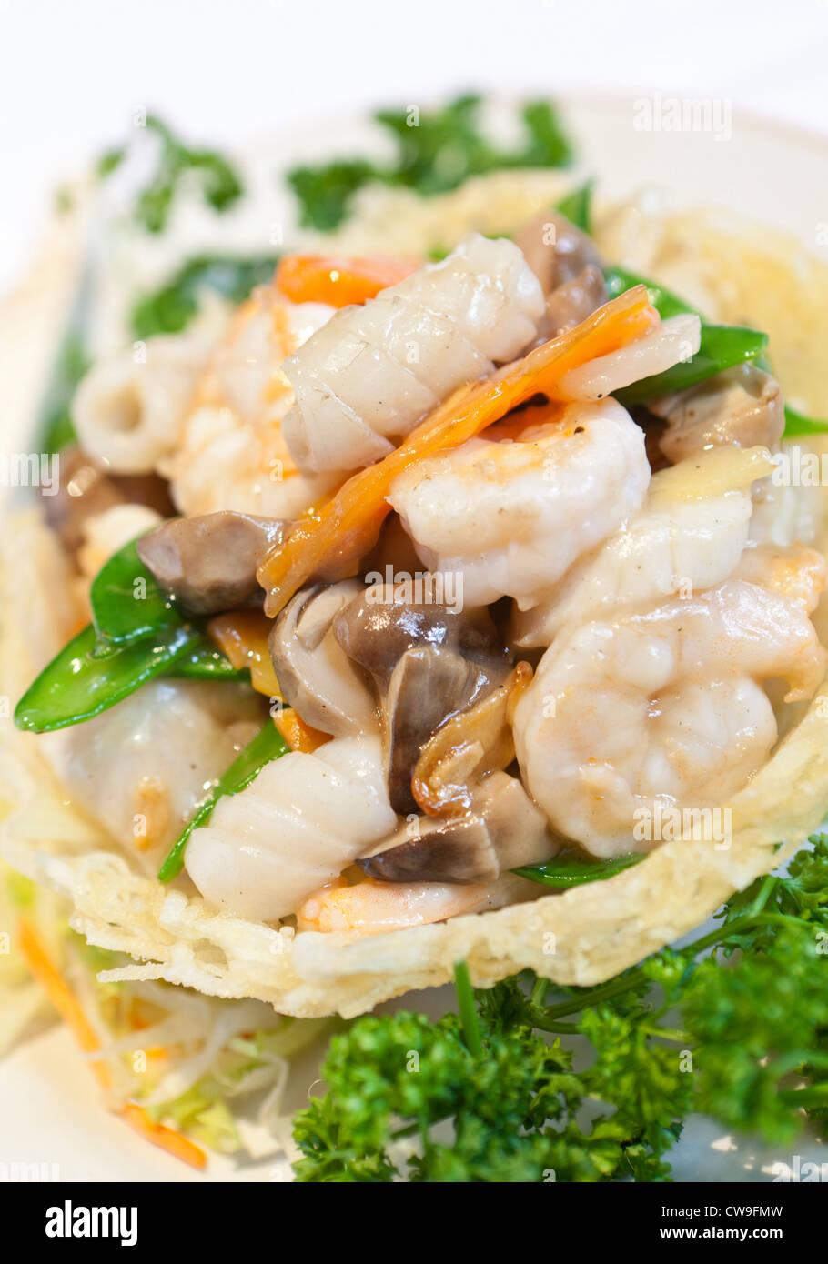 Food from Chung Ying Chinese restaurant, Chinese Quarter, Birmingham, West Midlands, England, UK - Stock Image