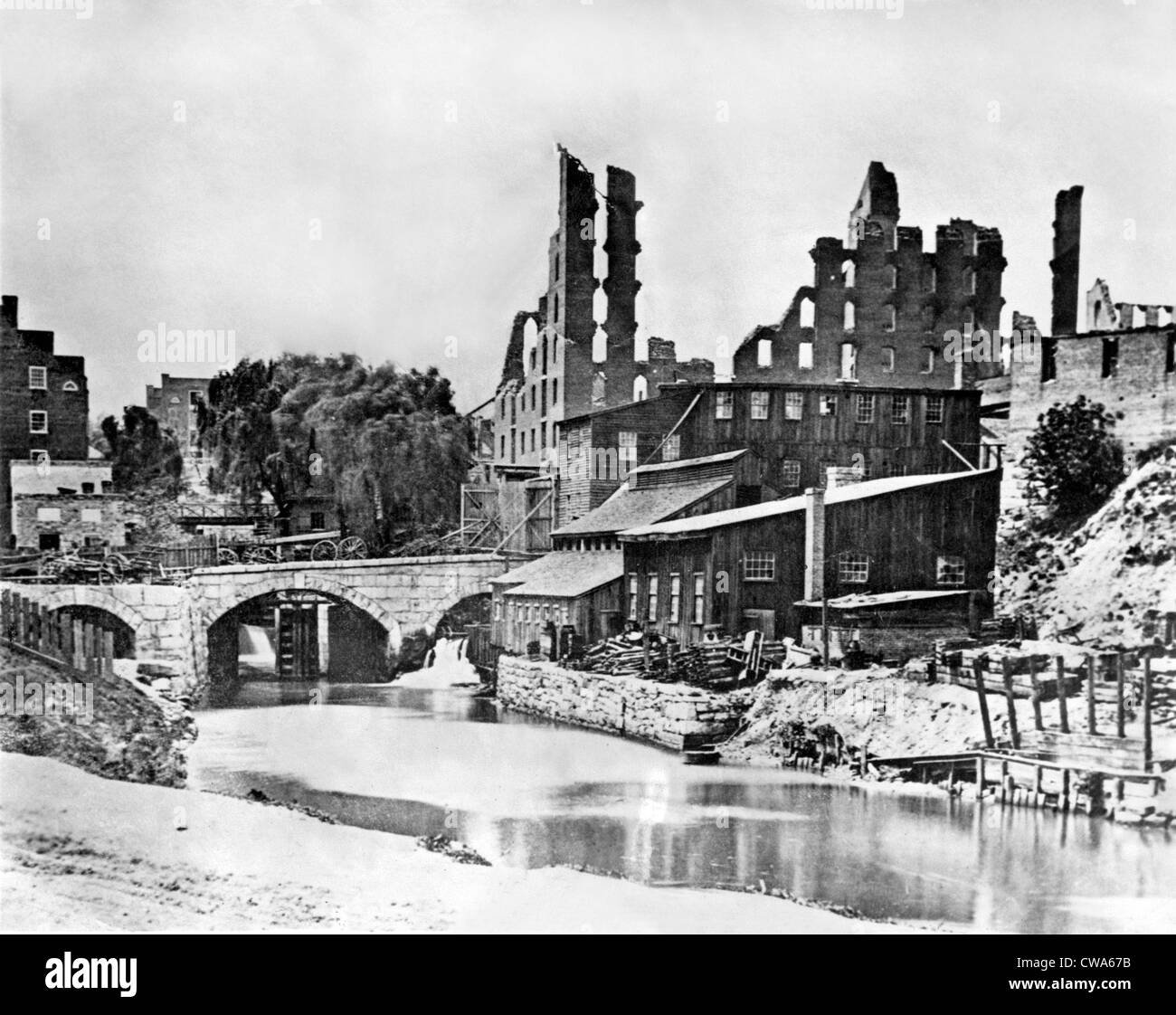 CIVIL WAR--The Galego Florence Mill in Richmond, VA destroyed in the war.  Photo by Mathew B. Brady. Courtesy: CSU - Stock Image