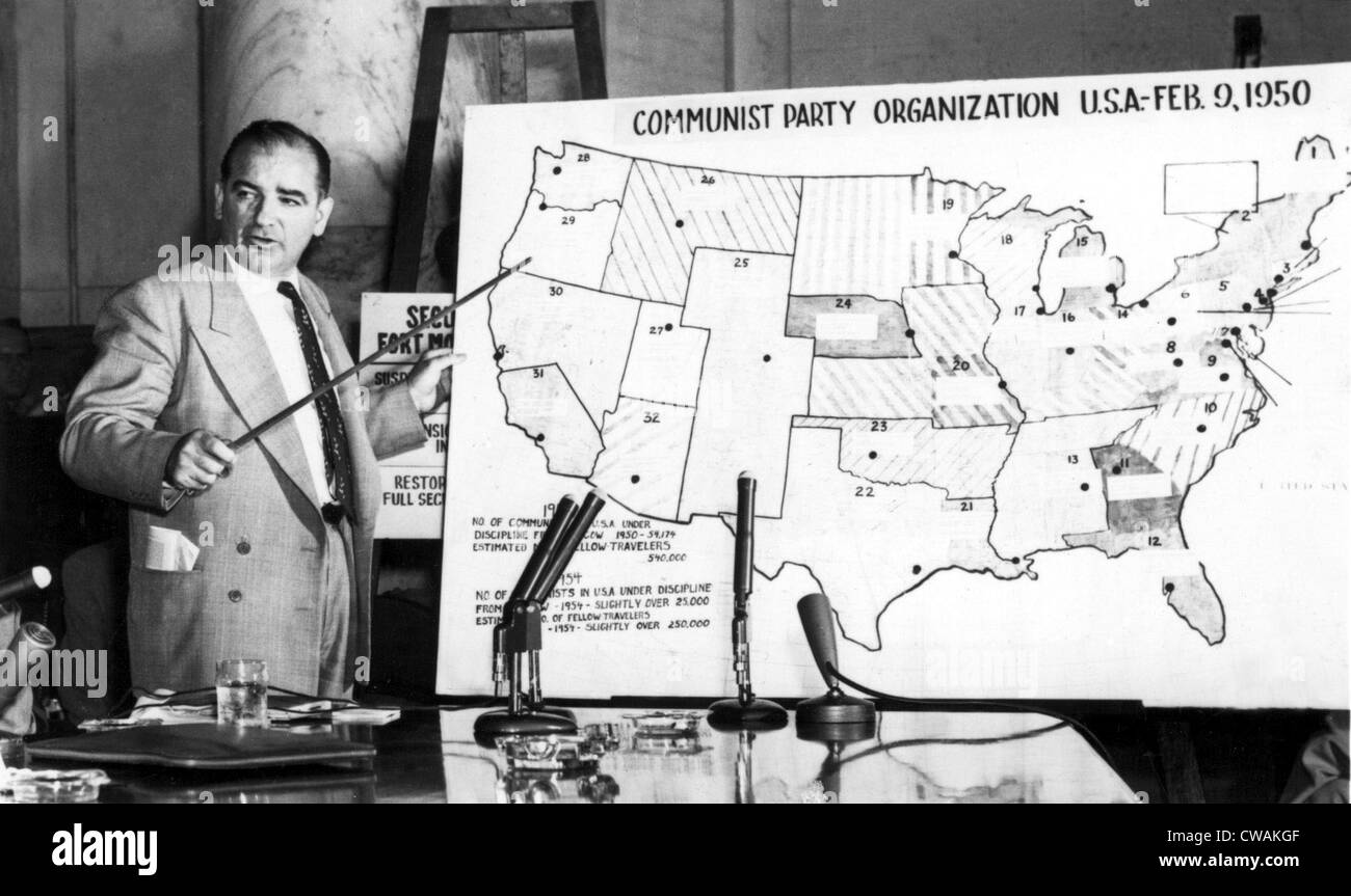 Sen. Joseph McCarthy before Senate Committee, 1950s, pointing to U.S. map. Courtesy: CSU Archives / Everett Collection Stock Photo