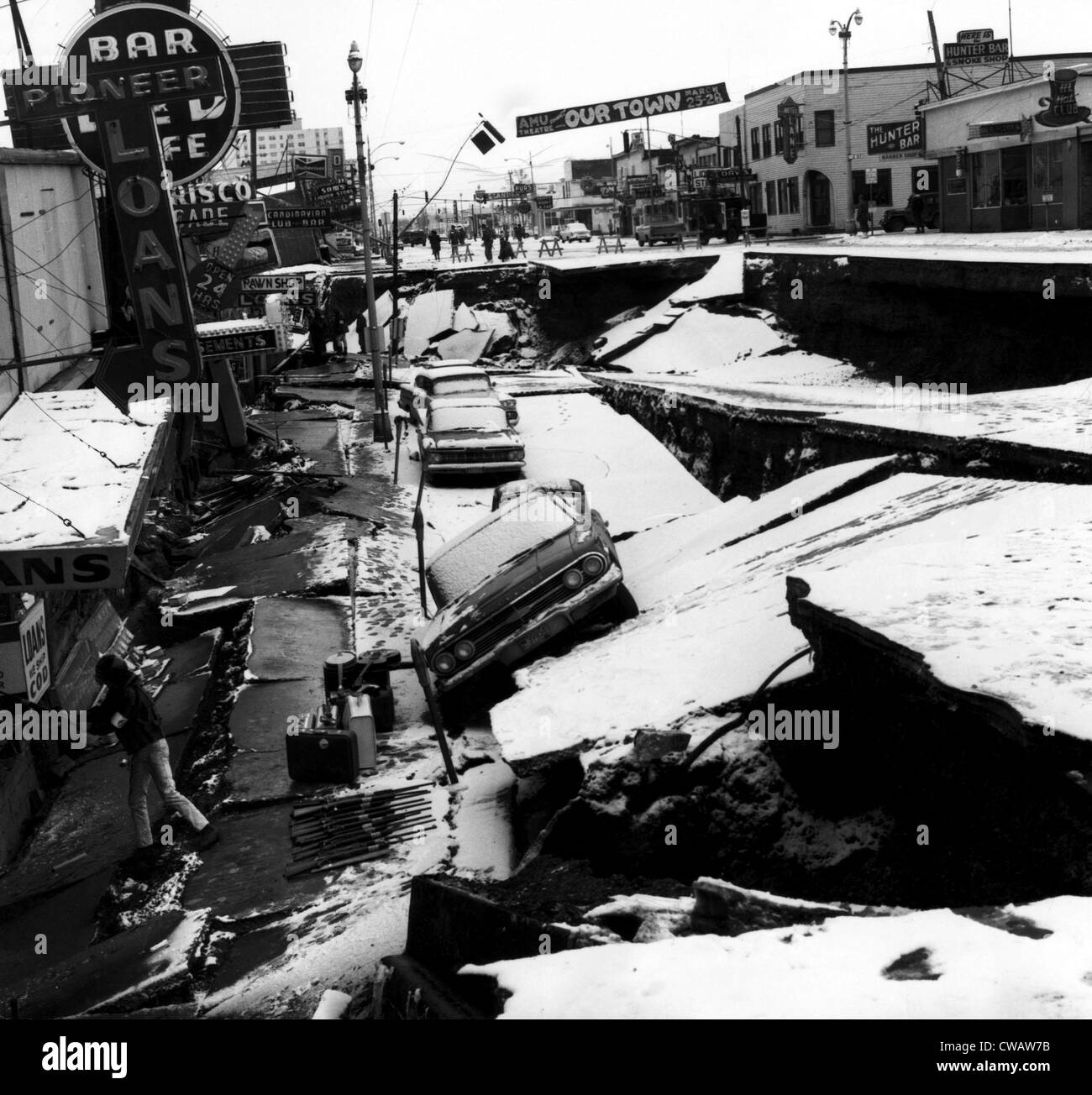Damage from an earthquake. Anchorage, Alaska. March 27, 1964. Courtesy: CSU Archives/Everett Collection Stock Photo