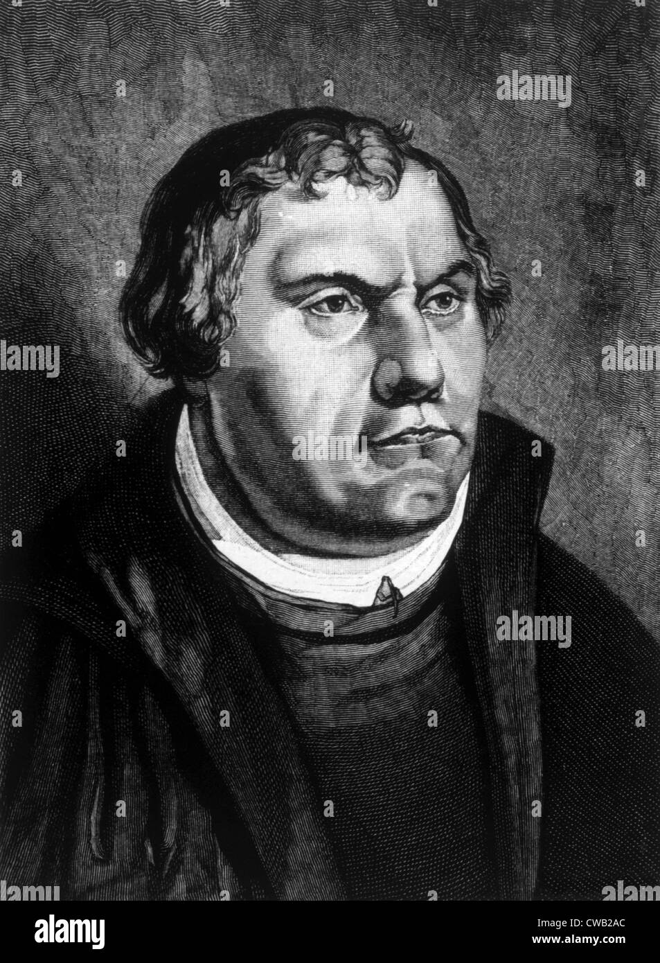 Martin Luther (1483-1546), engraving from the painting by Lucas Cranach,  1885