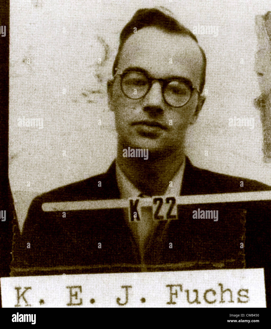Klaus Fuchs, German-born physicist and atomic spy for the USSR during the Manhattan Project. Los Alamos ID badge Stock Photo
