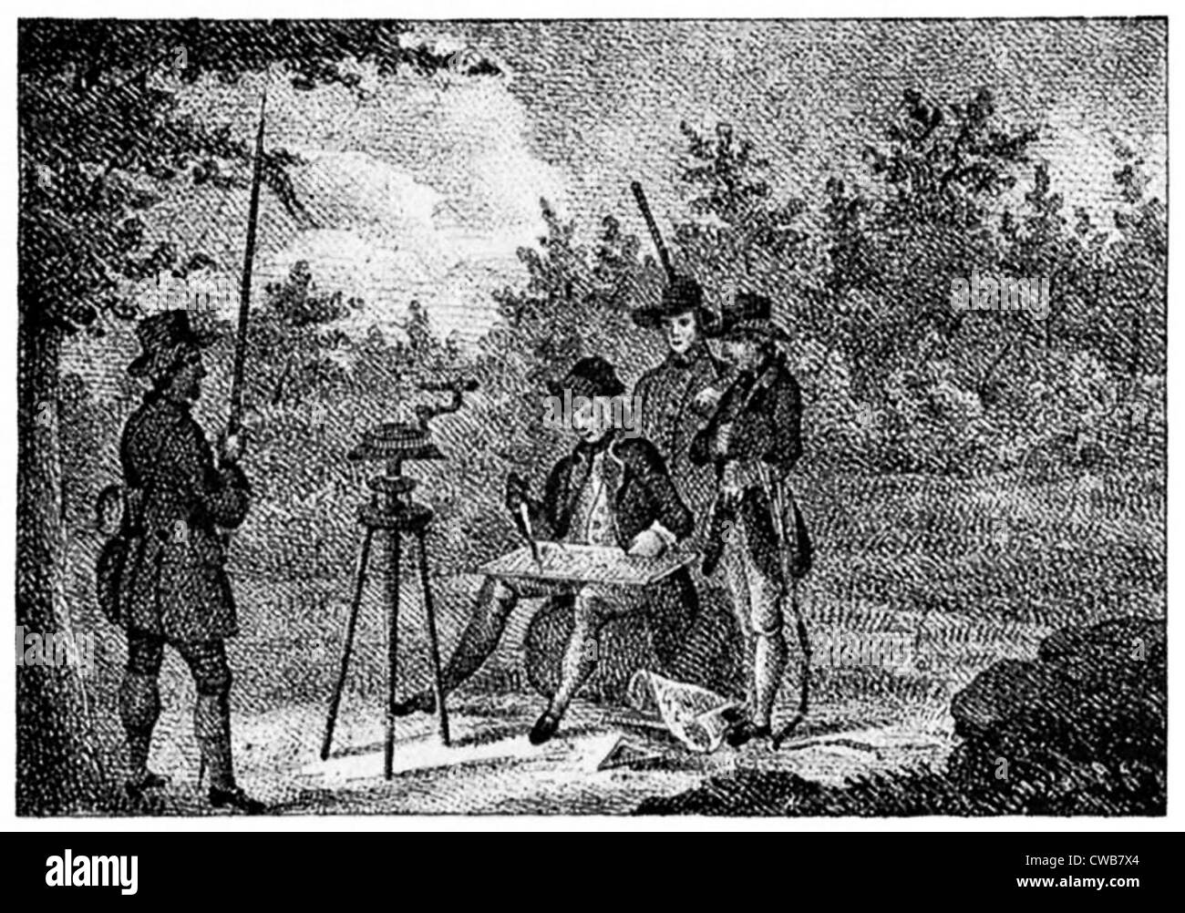 George Washington as a young surveyor. early 19th century engraving - Stock Image